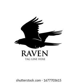 raven fly logo icon vector design template