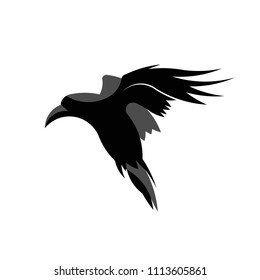 Raven flying illustration. 100% vector. Ideal for logo's, stickers, flyers, promotions, T-shirts, web design, apps and all other design requirements.