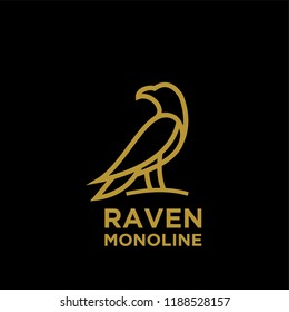 Raven gold line black background logo icon designs vector