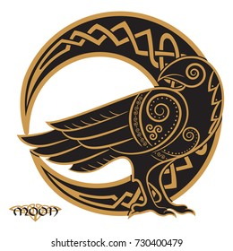Raven hand-drawn in Celtic style, on the background of the Celtic moon ornament, isolated on white, vector illustration