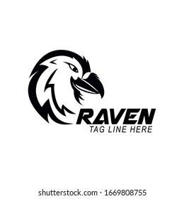 raven logo design vector template