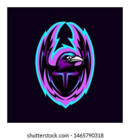 raven mascot initial logo concept