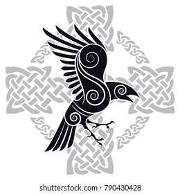 The Raven of Odin in a Celtic style patterned Celtic cross, isolated on white, vector illustration