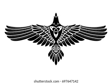 The Raven of Odin, In Norse, Celtic style, isolated on white, vector illustration