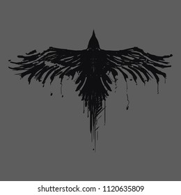 Raven painted in ink. Flying Crows. Grunge. Silhouette of a crow on a light background.