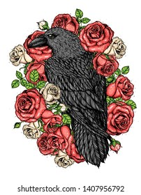 Raven and roses flowers hand drawn illustration. Tattoo vintage print. Black raven and red roses.