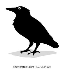 Raven Silhouette. Vector Illustration.
