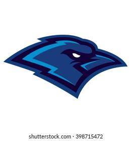 Raven sport logo. Angry bird mascot. Vector illustration. Character design.