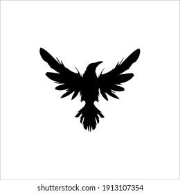 Raven Symbol Logo. Tattoo Design. Vector Illustration.