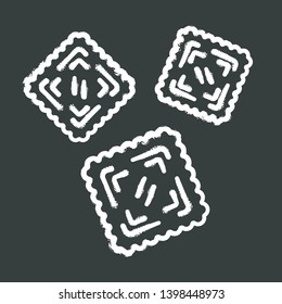Ravioli chalk icon. Traditional Italian dish. Type of pasta. Classic agnolotti. Tortelli. Square dough products with filling. Mediterranean cuisine. Isolated vector chalkboard illustration