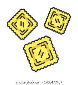 Ravioli color icon. Traditional Italian dish. Type of pasta. Classic agnolotti. Tortelli. Square dough products with filling. Mediterranean cuisine. Isolated vector illustration