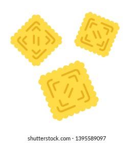 Ravioli flat design long shadow color icon. Traditional Italian dish. Pasta. Classic agnolotti. Tortelli. Square dough products with filling. Mediterranean cuisine. Vector silhouette illustration