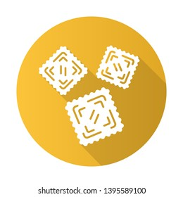 Ravioli flat design long shadow glyph icon. Traditional Italian pasta. Classic agnolotti. Tortelli. Square dough products with filling. Mediterranean cuisine. Vector silhouette illustration