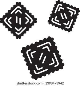 Ravioli glyph icon. Italian dish. Type of pasta. Classic agnolotti. Tortelli. Square dough products with filling. Mediterranean cuisine. Silhouette symbol. Negative space. Vector isolated illustration