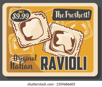 Ravioli pasta Italian cuisine dumpling with meat and vegetable fillings. Homemade agnolotti, square shaped pasta dough retro poster, traditional mediterranean food dishes vector theme