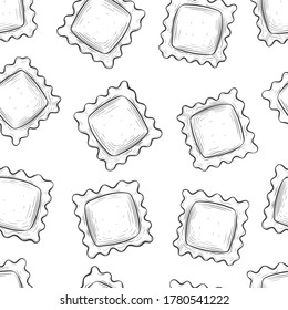 Ravioli pasta, seamless background. Italian cuisine. Detailed illustration in the style of hand drawing, engraving, outline, retro. Design for labels, packaging, postcards. Isolated on white. Vector.