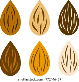 Raw almond nut set various color. flat style vector illustration.
