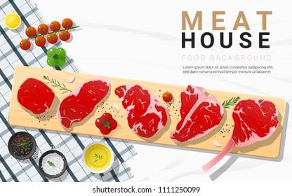 Raw beef steaks, tenderloin, strip loin, rib eye, t-bone and tomahawk with seasoning on wooden cutting board on marble stone background, vector, illustration