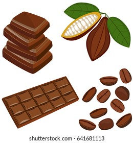 Raw cacao beans and chocolate bar.