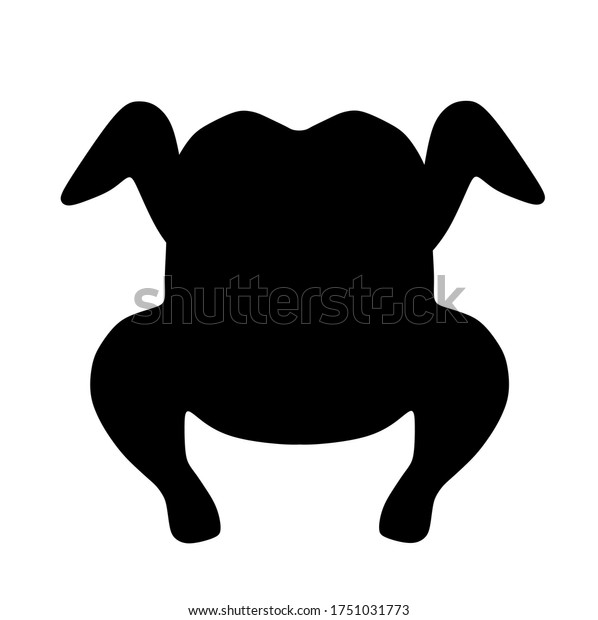 Raw chicken for cooking vector silhouette illustration isolated on white background. Organic food. Tasty  baked hot chicken.