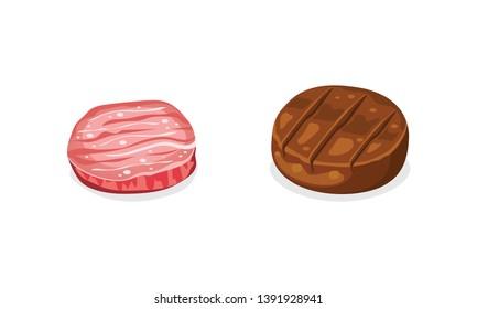 raw and cooked hamburger patties vector