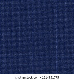 Raw dark blue denim texture seamless pattern. Jeans marl dyed canvas fabric textile. Vector retro 80s style cotton melange all over print.