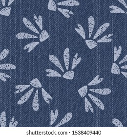 Raw Denim Blue Chambray Texture Background with Printed White Daisy. Indigo Stonewash Seamless Pattern. Close Up Textile Weave for Jeans Fabric, Wallpaper, Fashion Apparel. Vector EPS10 Repeat Tile