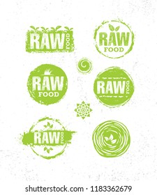 Raw Diet Wholesome Healthy Food Creative Sign Concept. Organic Local Farm Illustration On Rough Eco Background.
