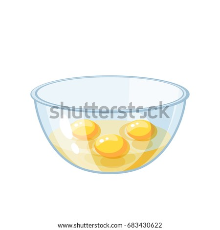raw eggs with yolk in a bowl. Vector illustration flat icon isolated on white.