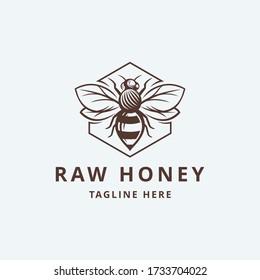 Raw Honey with leaf Logo Template