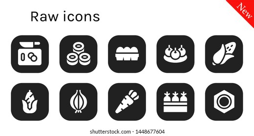 raw icon set. 10 filled raw icons.  Collection Of - Chop, Sushi, Eggs, Bitterballen, Corn, Onion, Carrot, Carrots, Nut