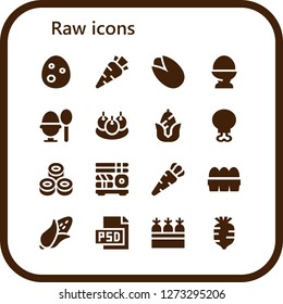 raw icon set. 16 filled raw icons. Simple modern icons about  - Egg, Carrot, Pistachio, Boiled egg, Bitterballen, Corn, Chicken leg, Sushi, Eggs, Psd, Carrots, Radish