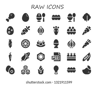 raw icon set. 30 filled raw icons.  Collection Of - Chicken leg, Egg, Eggs, Boiled egg, Lettuce, Carrot, Onion, Radish, Mangosteen, Bitterballen, Corn, Nut, Psd, Carrots, Pea