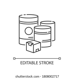 Raw materials pixel perfect linear icon. Natural resources, manufacturing thin line customizable illustration. Contour symbol. Box and barrels vector isolated outline drawing. Editable stroke