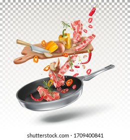Raw meat steaks, vegetables, peppers, onions, spices, cut by a knife on the kitchen board, fall into the pan. Cooking process. Vector 3d illustration.