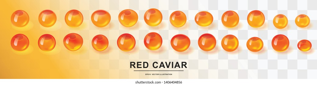 Raw red caviar collection isolated. Salted or fresh salmon fish eggs, trout roe 3d realistic vector illustration