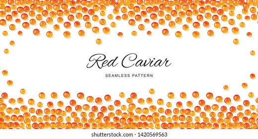 Raw red caviar seamless pattern isolated. Salted or fresh salmon fish eggs, trout roe 3d realistic vector background with place for text