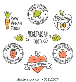Raw vegan, detox, organic  labels, logo and elements for food, drink, restaurants, bio products. Business signs template, concept, corporate identity badges and objects.