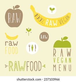 Raw vegan labels. Vector hand drawn signs.
