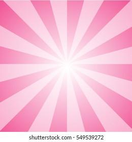 Ray of light pink sunburst background and vector illustration.