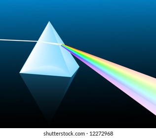 ray of light refracting; vector illustration