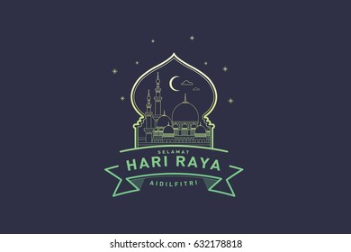 raya greeting template vector/illustration with malay words that translate to wishing you a joyous raya