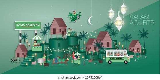 raya greetings template vector/illustration with malay words that mean 'going home', 'village bus', blessed aidilfitri'