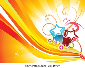 rays background with stripes, star, circle and curve design
