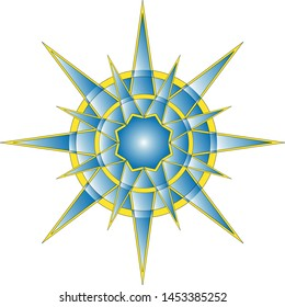 Rays larger and smaller in circles come out from the center and form a pattern in blue and yellow.