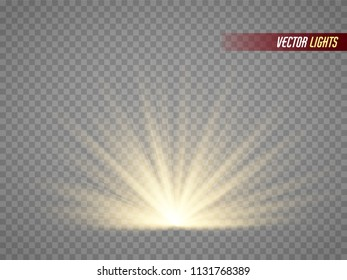 Rays of light. Warm light effect. Sun  beams isolated on transparent background. Vector illustration.