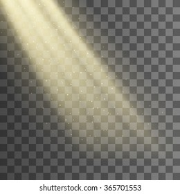 Rays of light from the window background. Vector effect. Transparent background. Beam with dust. EPS 10.
