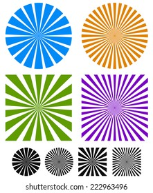 Rays or starburst backgrounds.