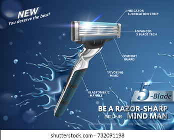 Razor ads for men, sharp blades with splashing water in 3d illustration