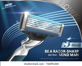 Razor ads for men, sharp blades with speedy laser lights in 3d illustration